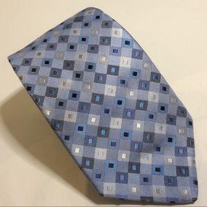Ted Baker Blue Silver Geometric Diamond Silk Tie